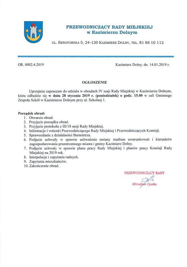Ogloszenie o IV sesji Rady Miejskiej 01
