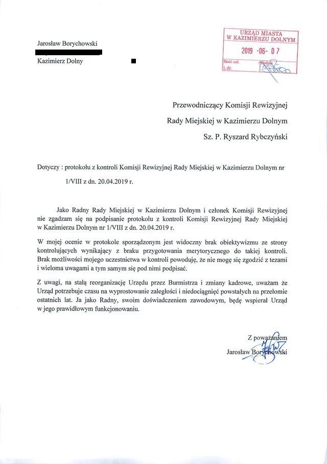 jaroslaw borychowski dot protokolu komisji rewizyjnej 481170 01