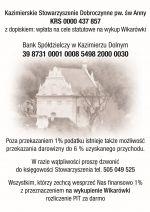 Prosimy o wsparcie - Kazimierskie Stowarzyszenie Dobrocznynne pw św Anny.